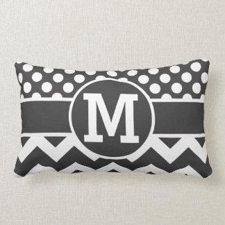 Personalized Black White Chevron Polka Dots Print Throw Pillow