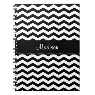 Personalized Black White Chevron Spiral Notebook