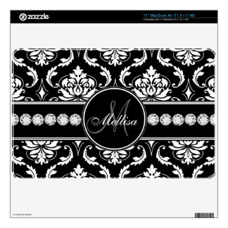 Personalized Black White Damask MacBook Skin