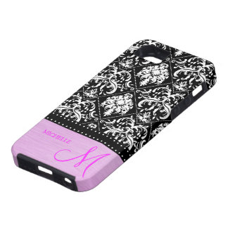 Personalized black & white damask with Pink iPhone SE/5/5s Case