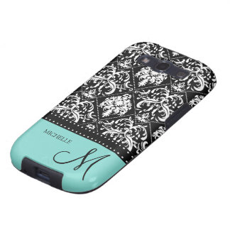 Personalized black & white damask with teal blue samsung galaxy SIII cases