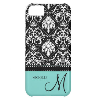 Personalized black & white damask with teal blue case for iPhone 5C