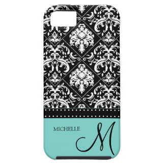 Personalized black & white damask with teal blue iPhone 5 cover