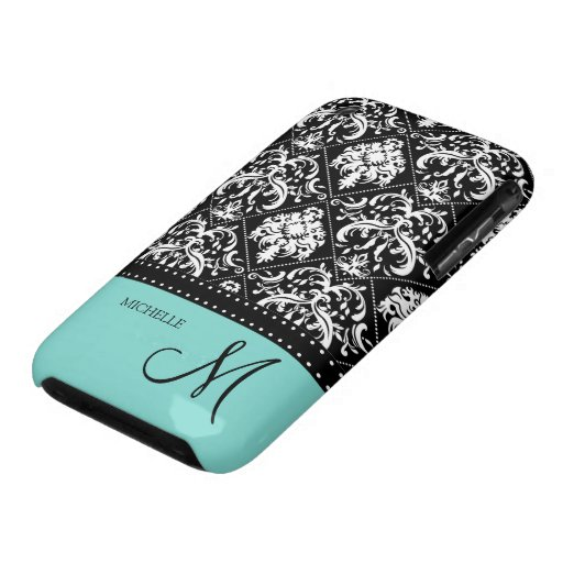 Personalized black & white damask with teal blue Case-Mate iPhone 3 case