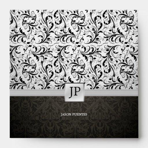 Personalized Black / White Elegant Damask Envelope