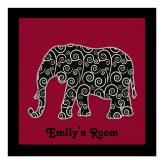 Personalized Black White Elephant on Red Poster