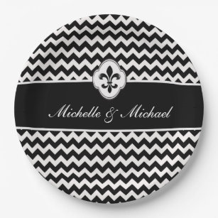 Personalized Black White Fleur de Lis Chevron Paper Plate  sc 1 st  Zazzle : black and white chevron paper plates - pezcame.com