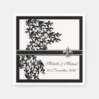 Personalized Black White Fleur de Lis Damask Style Disposable Napkins