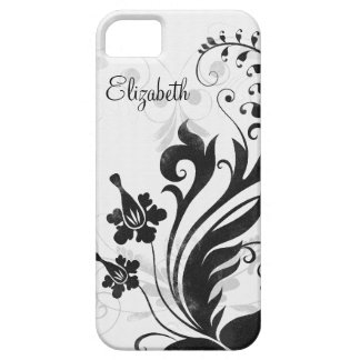 Personalized Black White Floral iPhone 5 Case