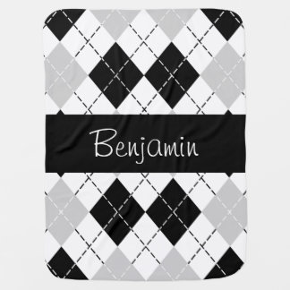 Personalized Black White Gray Argyle Baby Blanket