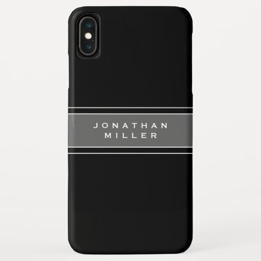 Personalized Black & White Gray Stripe iPhone XS Max Case