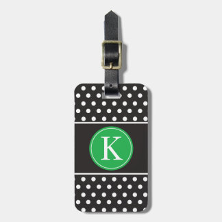 Personalized Black White Kelly Green Polka Dots Bag Tag