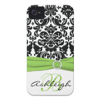 Personalized Black, White, Lime Damask iPhone 4 Case-Mate iPhone 4 Case