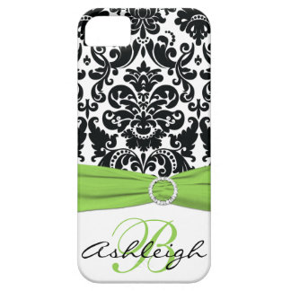 Personalized Black, White, Lime Damask iPhone 5 iPhone SE/5/5s Case