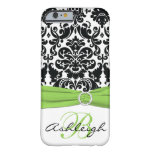 Personalized Black, White, Lime Damask iPhone 6 ca Barely There iPhone 6 Case