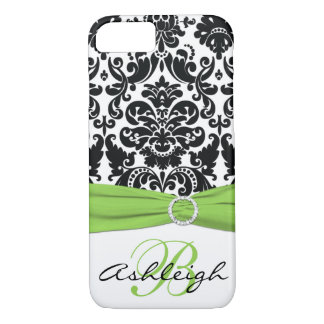 Personalized Black, White, Lime Damask iPhone 7 iPhone 7 Case