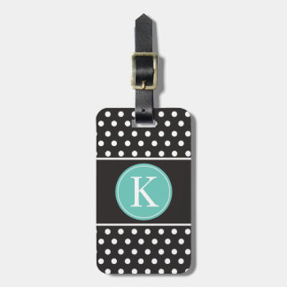 Personalized Black White Mint Green Polka Dots Bag Tag