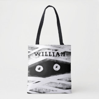 Personalized Black & White Mummy Face Halloween Tote Bag