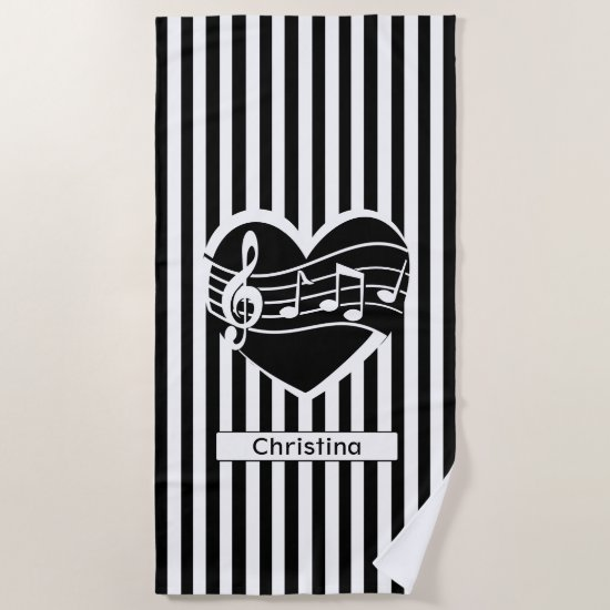 Personalized Black White Music Notes Heart Stripes Beach Towel