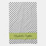 Personalized Black and White Polka Dot Green Kitchen Tea Towel