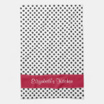 Personalized Black and White Polka Dot Red Kitchen Tea Towel