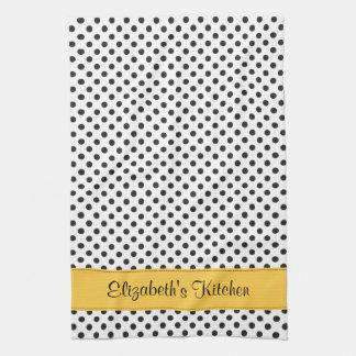 Personalized Black White Polka Dot Yellow Hand Towel