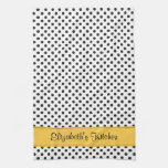 Personalized Black White Polka Dot Yellow Kitchen Towel