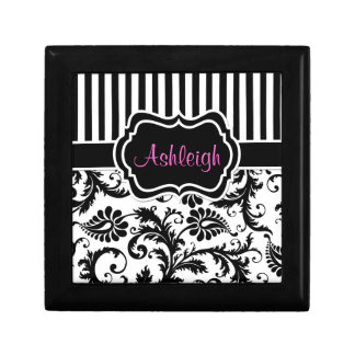 Personalized Black, White Polka Dots Trinket Box