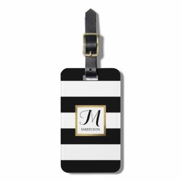 stripystripes Personalized Black & White Striped Gold Monogram Luggage Tag