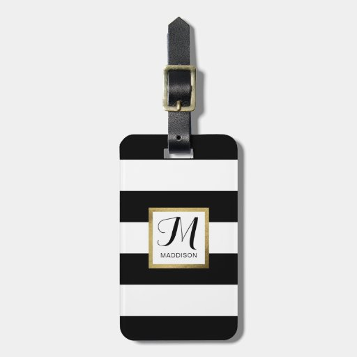 Personalized Black & White Striped Gold Monogram Luggage Tag