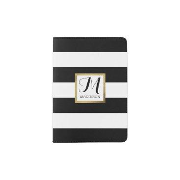 stripystripes Personalized Black & White Striped Gold Monogram Passport Holder