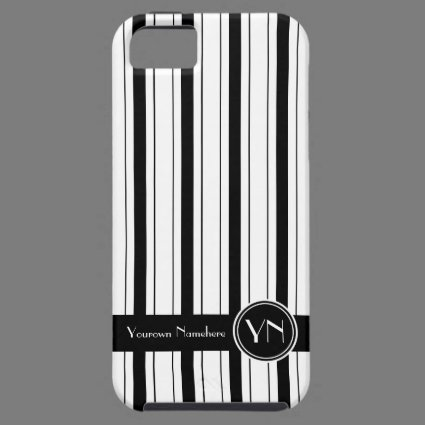 Personalized Black White Stripes Pattern Executive iPhone 5 Covers