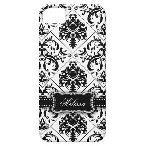 Personalized Black & White Vintage Damask pattern iPhone 5 Cover
