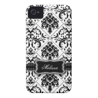 Personalized Black & White Vintage Damask pattern iPhone 4 Case-Mate Case