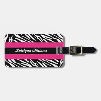 Personalized Black White Zebra Stripe Luggage Tag