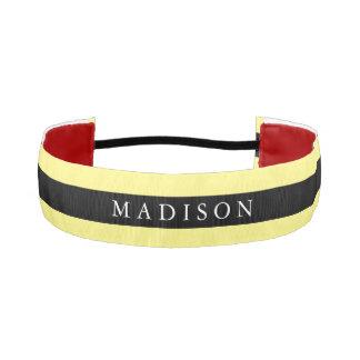 Personalized Black Yellow  Non Slip Headband