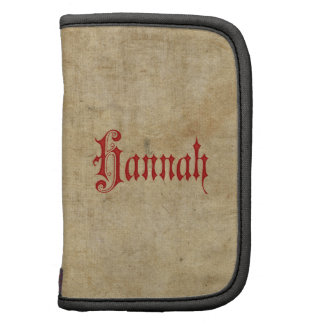 Personalized Blackletter Parchment Hannah Red Organizers