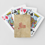 Personalized Blackletter Parchment Kim Red Bicycle Playing Cards