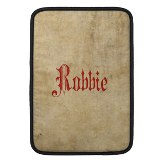 Personalized Blackletter Parchment Robbie Red MacBook Sleeve