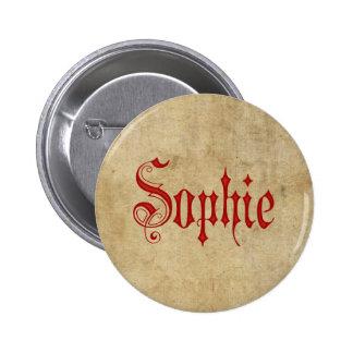 Personalized Blackletter Parchment Sophie Red Button