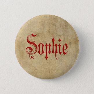 Personalized Blackletter Parchment Sophie Red Pinback Button