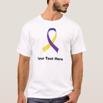 Personalized Bladder Cancer Yellow & Purple Ribbon T-Shirt