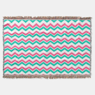 Personalized Blanket pink, green and white chevron Throw