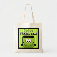 Personalized Blockhead Monster Halloween Treat Bag at Zazzle
