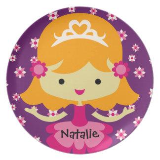 Personalized Blond Princess Plate