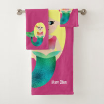 Personalized Blonde Faux Foil Mermaid Kids Cute Bath Towel Set