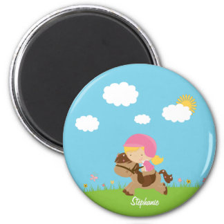 Personalized blonde hair horse rider girl floral 2 inch round magnet