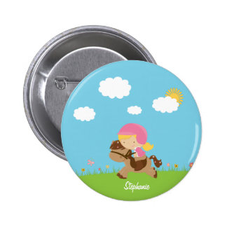 Personalized blonde hair horse rider girl floral button