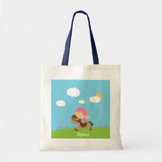 Personalized blonde hair horse rider girl floral tote bag