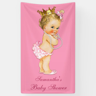 Personalized Blonde Little Princess Baby Shower Banner